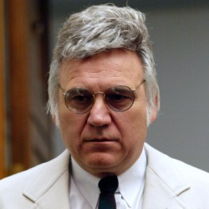 WASHINGTON - JULY 17: U.S. Rep. James Traficant (D-OH) waits in the Capitol prior to a House Inquiry Subcommittee hearing examining whether he violated congressional rules July 17, 2002 on Capitol Hill in Washington, DC. Traficant was convicted in April, 2002 on 10 counts of racketeering, bribery and fraud. He could become only the second member of Congress since the Civil War to be expelled. (Photo by Alex Wong/Getty Images)