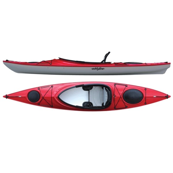 Eddyline Sandpiper 130 Red over silver open cockpit kayak