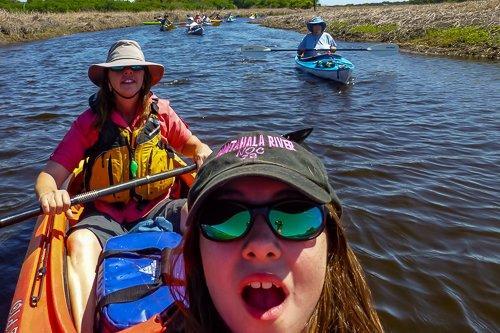 Kim and Delaney Selfie on Tandem Kayak