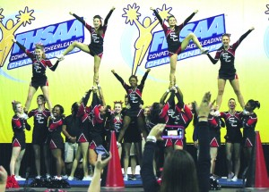 SPORTS_Strawberry Crest Chargers Cheer Squad perform at the FHSAA State Competition