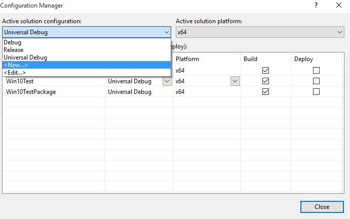 Figure 3—Creating a new Solution Configuration