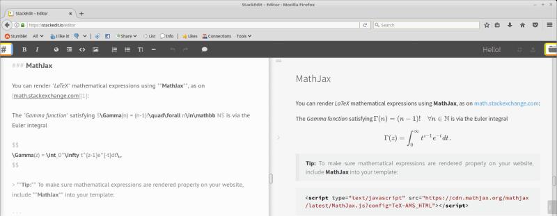 StackEdit - a web based Markdown editor
