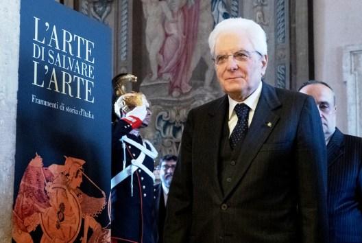 Il Presidente Mattarella,all'inaugurazione della mostra 'L'arte di salvare l'Arte. Frammenti di storia d'Italia', foto Quirinale