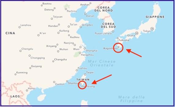 La mappa dei due eventi