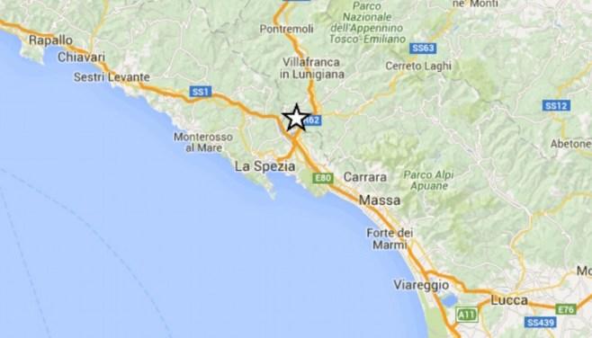 L'epicentro del terremoto tra Liguria e Toscana
