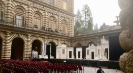 Il cortile di Palazzo Pitti a Firenze pronto per gli spettacoli estivi del Maggio Musicale 2017