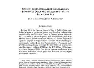 Recensioni. Stealth Regulation: Addressing Agency Evasion of OIRA and Administrative Procedure Act
