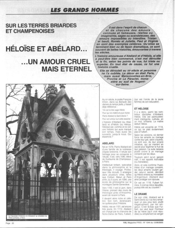 Article Héloïse et Abeilard page 1