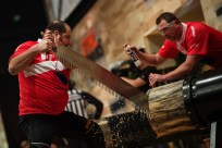 Team Poland performs at the team competition of the Stihl Timbersports World Championships at the Olympia Hall in Innsbruck, Austria on November 14, 2014.