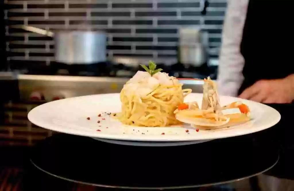 Cacio e pepe con battuta di gamberi   Dish