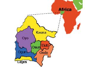 Map of Yoruba land