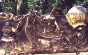 the amazing Bronze Wall on the outside of the Shrine located within Nigeria's Osun Osogbo Sacred Grove