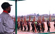Ogbeni Rauf Aregbesola inspecting a parade of Cadets of Osun Youth Empowerment Scheme (O-Yes)
