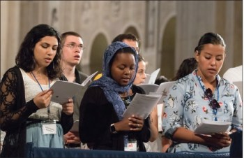 Young people pray