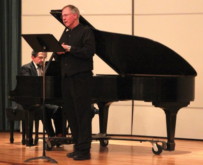 Todd Graber (center) and Juan La Manna pay homage to the music of Samuel Barber.  (David Armelino | The Oswegonian)