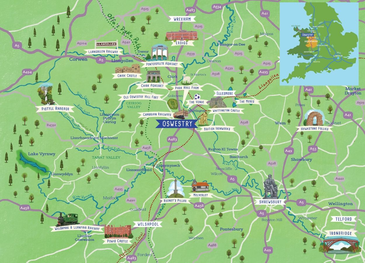 Map of Oswestry & The Borderlands
