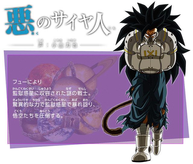 O malvado Saiyajin   Ator de Voz: Rikiya Koyama   Um misterioso guerreiro encarcerado por Fu no Planeta da Prisão. Com o seu poder surpreendente, ele agita o Planeta Prisão e domina Goku e companhia.