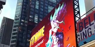 Autor de Dr. Stone surpreendido com anúncio em Times Square