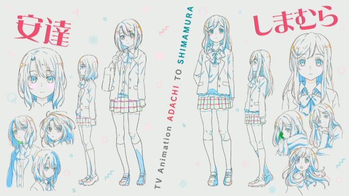 Designd e personagens de Adachi to Shimamura