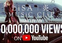 """Videoclip de """"Homura"""" de LiSA com 12 milhões de visualizações numa semana"""