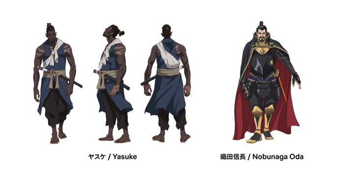Design de personagens do nime Yasuke na Netflix