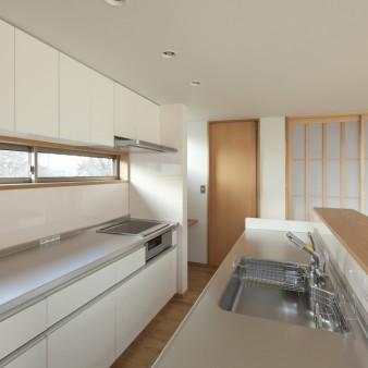 19:台所(子) 正面の扉は食品庫を兼用した納戸。