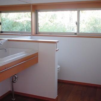 21:洗面所 2階洗面所 鏡に隣地の緑が映り込んでいる。