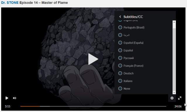 Crunchyroll HTML5 player settings