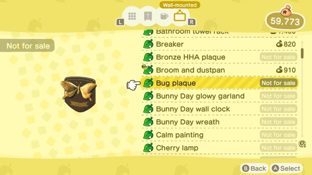 Animal Crossing: New Horizons Stamp Rally: Bug Plaque Prize