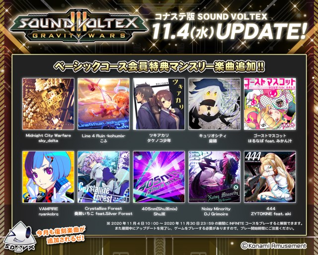 The list of songs for the Sound Voltex III PC Update on November 2020