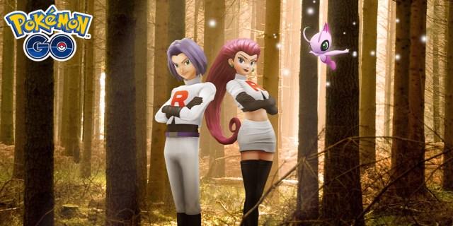 Team Rocket and Celebi on Pokemon Go Celebi event promo image