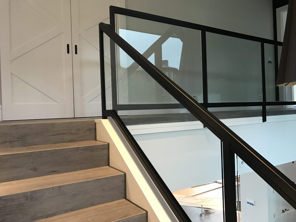 Interior Glass Stair Railing • Ot Glass | Stair Railing Glass Panel | Tempered Glass | Wood | Stainless Steel Railing Systems | Base Shoe | Aluminum