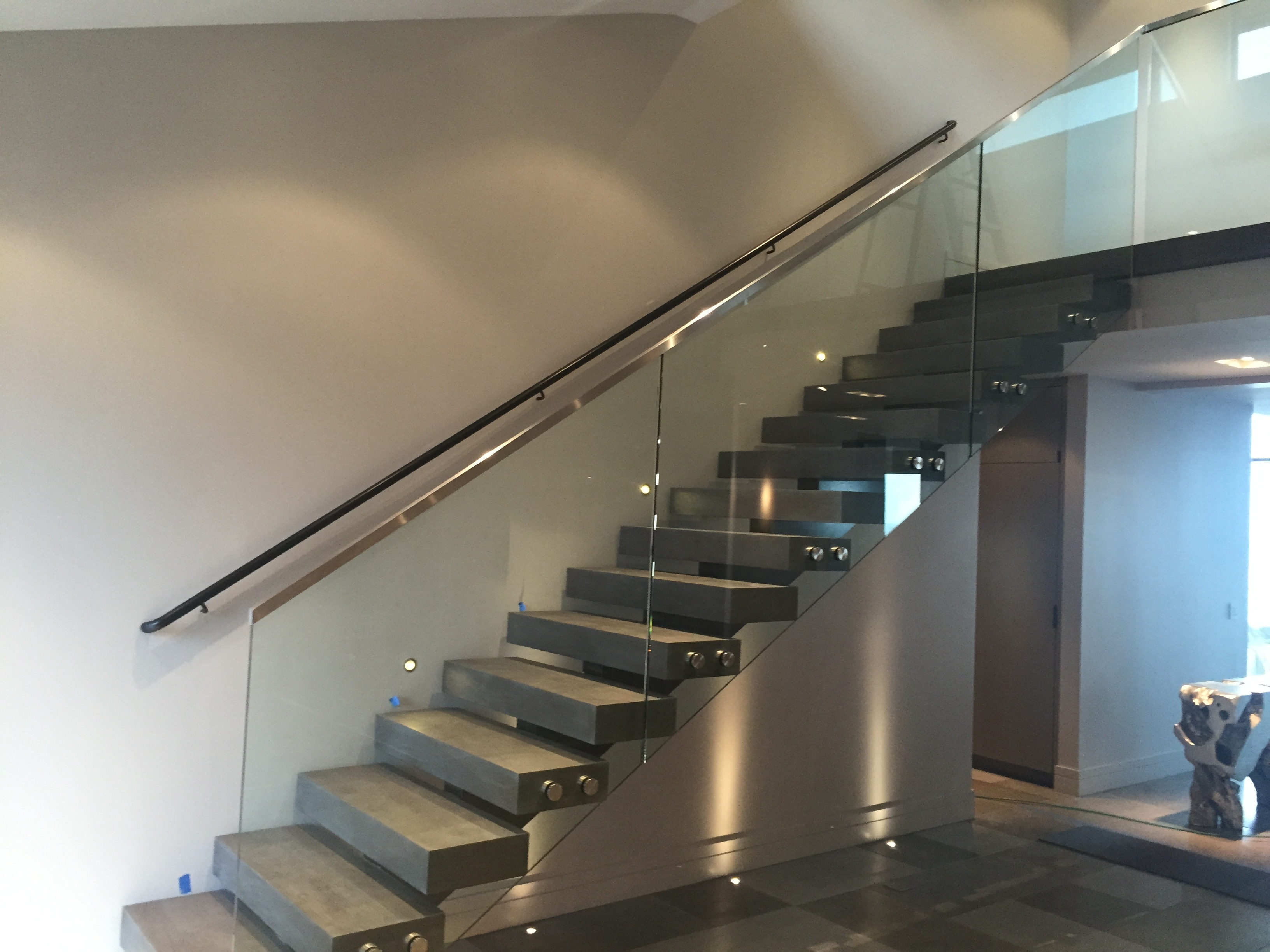 Glass Stair Rail With Standoffs • Ot Glass   Wood And Glass Staircase Railing   Tempered Glass   Glass Style Kerala   Rustic Glass Interior   Architectural Modern Wood Stair   Interior