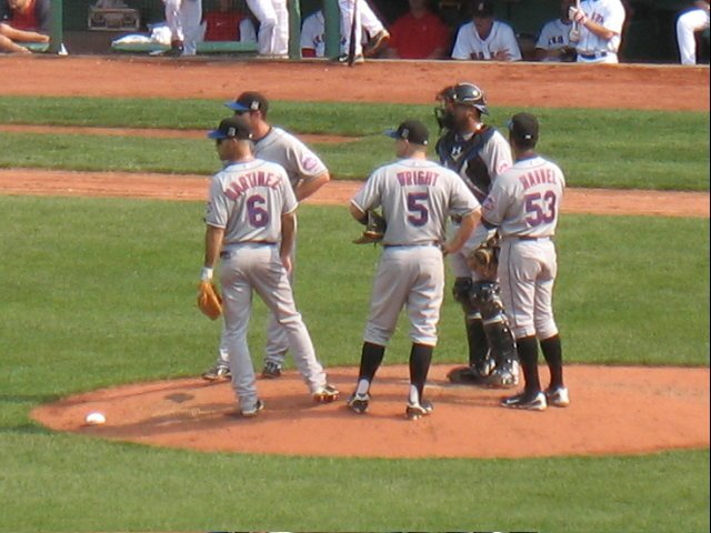 A mound conference when things were going poorly for the Mets