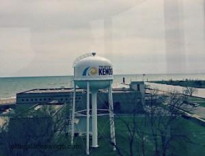 Kenosha Southport Lighthouse - View of Lake Michigan and Red Lighthouse