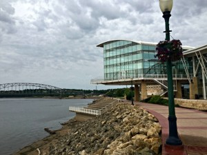 Beautiful public art on the river along the Mississippi Riverwalk.