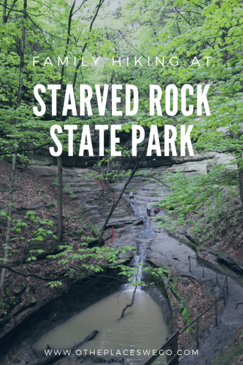 Family hiking at Starved Rock State Park in Illinois