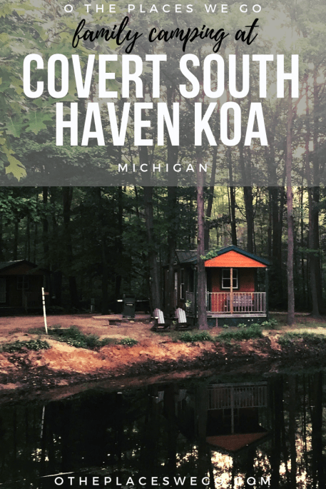 Fun with the family at Covert South Haven KOA located in West Michigan. Stay in a Deluxe Cabin with bunkbed and enjoy the amenities at the campground including a jumping pad, barrel train, heated pool, and fantastic splash pad.