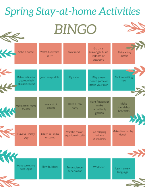 Stuck at home? Make the most out of your time at home with these spring activities. Then print out the free printable to mark your progress.