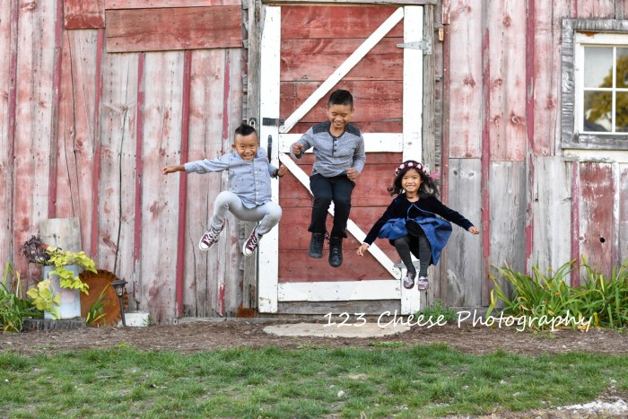 All smiles with 123 Cheese Photography - a wonderful Christmas Barn Door photo session in Huntley, Illinois.