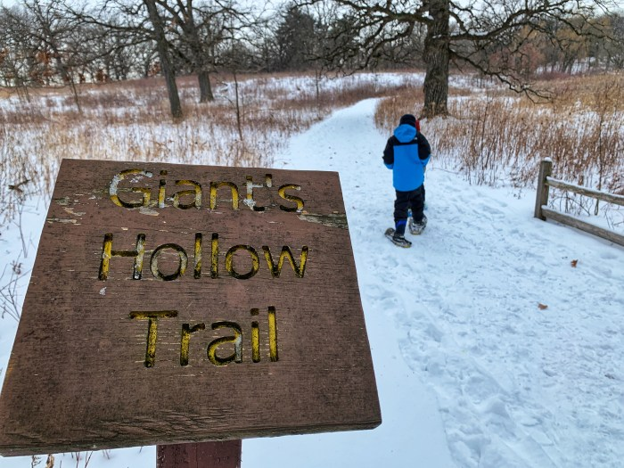 Snowshoeing tip: Try the short Giant's Hollow Trail first to get acclimated to snowshoeing.
