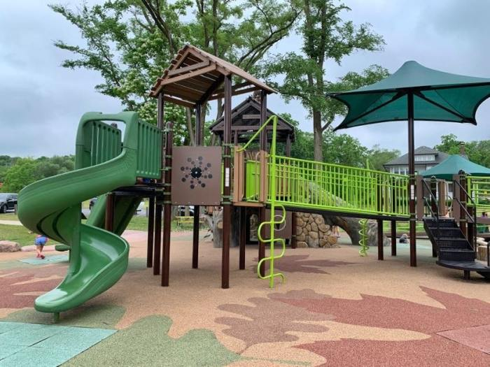 Playground fun at SEBA Park, an inclusive playground, in South Elgin. Combine it with the new Panton Mill Splash Pad for a fun day out!
