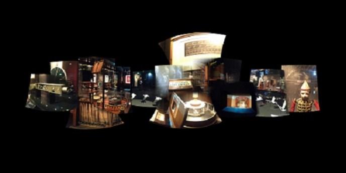 """Cylindric Impression: Le Musée de la Cinémathèque française, No. 10 (2015) by Mark Wilson, archival pigment print, 32"""" x 16""""."""