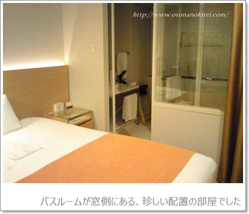 バスルームが窓側にある、珍しい配置の部屋でした