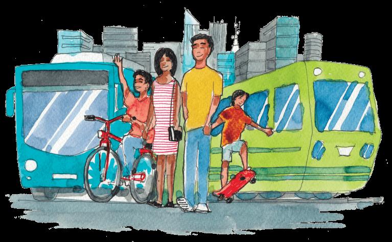 familia y transporte responsable