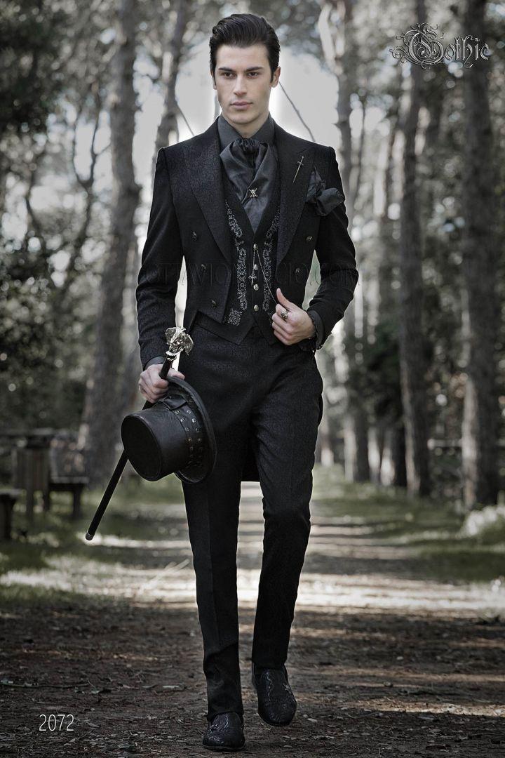 Luxury Tail Coat In Black Brocade Fabric In Gothic Style Ottavio Nuccio Gala