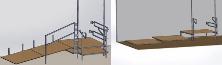 Drawings of a customized ramp in different positions used by patients with spinal cord injuries.