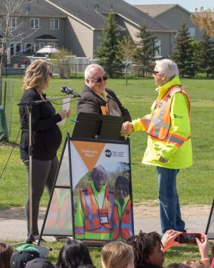 Dennis receiving the Ottawas Favourite Crossing Guard