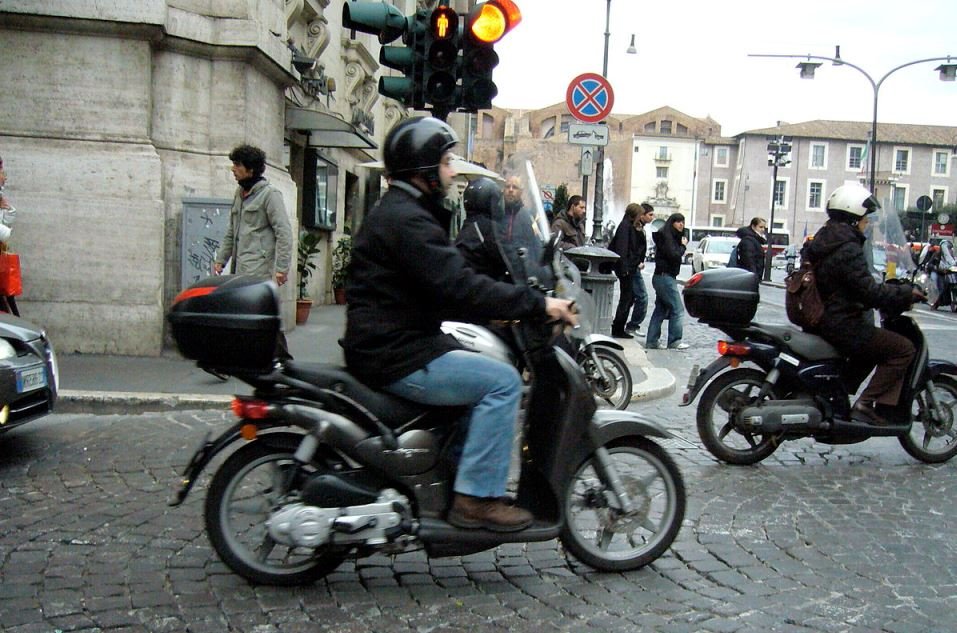 man riding motor bike