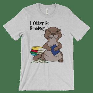 I Otter Be Reading Heather T-shirt